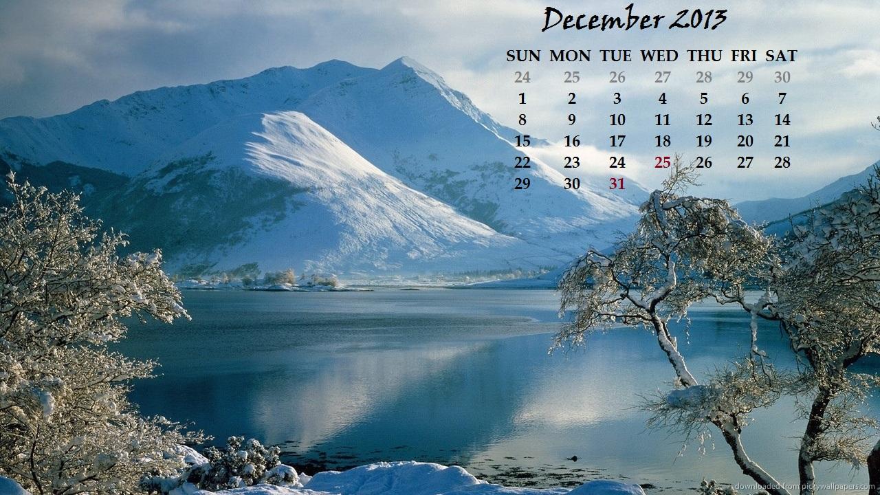 the december 2013 calendar  shining on my desktop